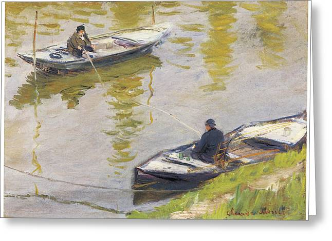 Two Fishing Men Greeting Cards - The Two Anglers Greeting Card by Claude Monet