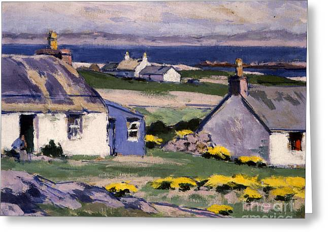 Village By The Sea Greeting Cards - The Two Crofts Greeting Card by Francis Campbell Boileau Cadell