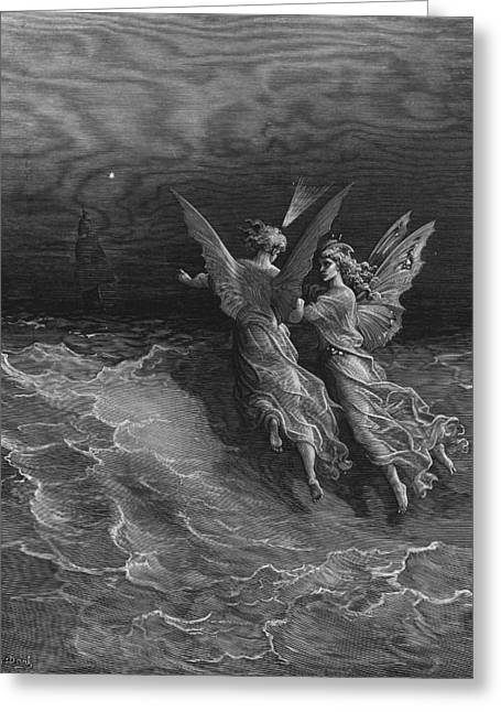 Voyage Drawings Greeting Cards - The two fellow spirits of the Spirit of the South Pole ask the question why the ship travels  Greeting Card by Gustave Dore