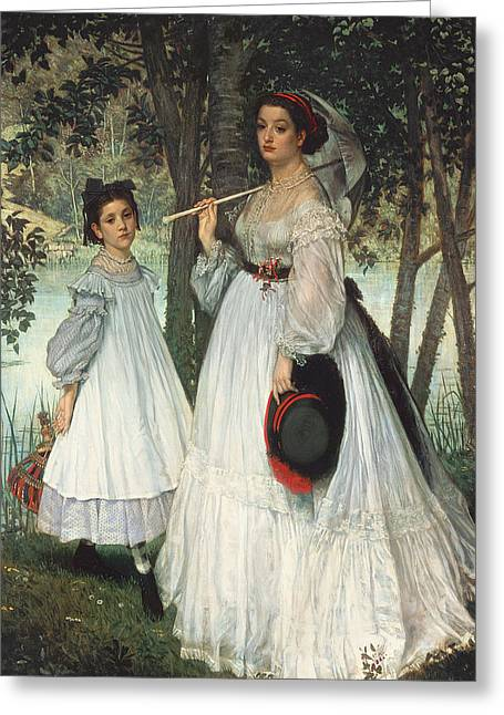 Parasols Greeting Cards - The Two Sisters Portrait, 1863 Oil On Canvas Greeting Card by James Jacques Joseph Tissot