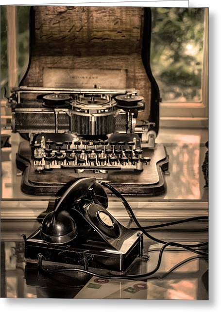 Typewriter Greeting Cards - The Typewriter and the Telephone Greeting Card by Bill Cannon
