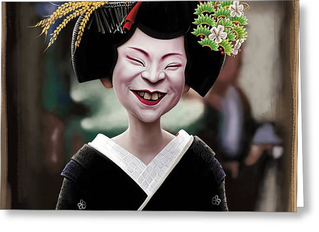 Geisha Greeting Cards - The Ugly Geisha Greeting Card by Andre Koekemoer