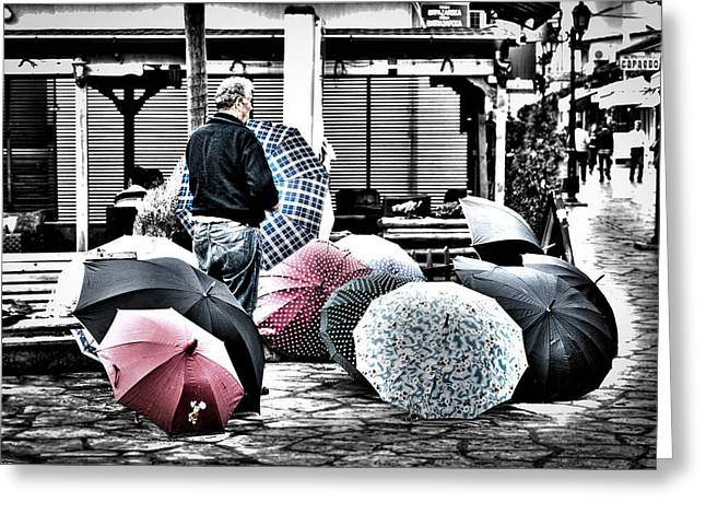 Traveling Salesman Greeting Cards - The Umbrella Salesman Greeting Card by Rabiri Us