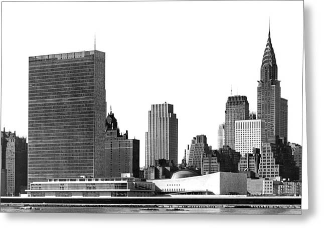 The Un And Chrysler Buildings Greeting Card by Underwood Archives