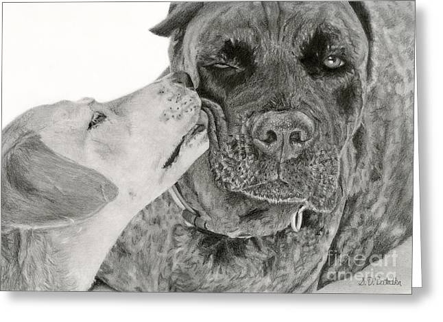 Labs Drawings Greeting Cards - The Unconditional Love Of Dogs Greeting Card by Sarah Batalka