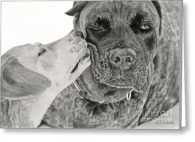 Puppies Drawings Greeting Cards - The Unconditional Love Of Dogs Greeting Card by Sarah Batalka
