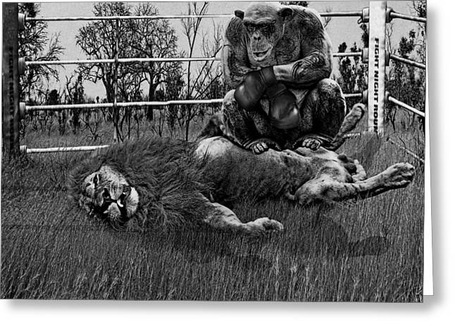 Scale Digital Art Greeting Cards - The Undefeated Chump grayscale Greeting Card by Marian Voicu