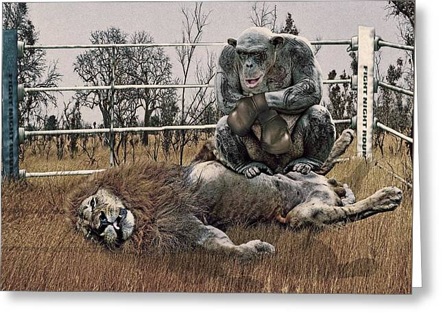 Wildlife Digital Art Greeting Cards - The Undefeated Chump Greeting Card by Marian Voicu