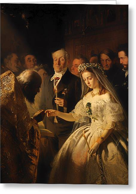 Unequal Greeting Cards - The Unequal Marriage Greeting Card by Vasili Pukirev