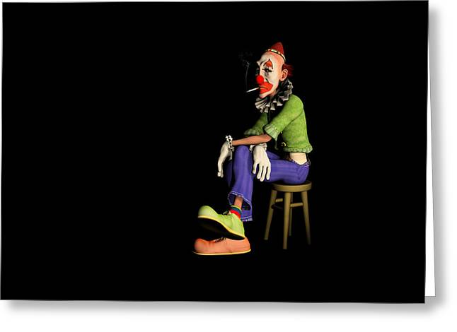 Fed Digital Art Greeting Cards - The Unhappy Clown Greeting Card by Liam Liberty
