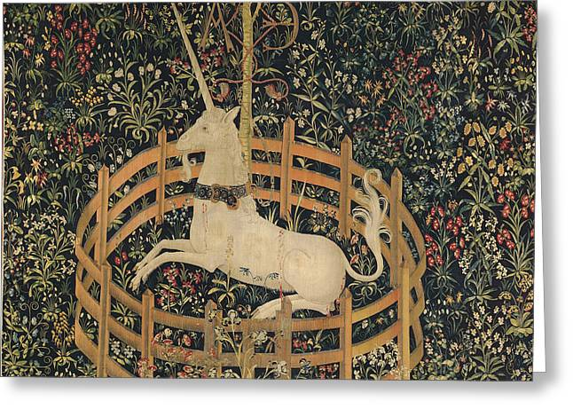 Legend Tapestries - Textiles Greeting Cards - The Unicorn captured Greeting Card by Unknown
