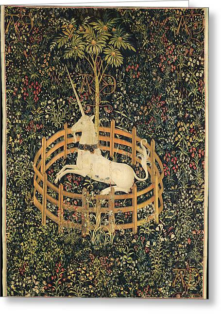 Silk Tapestries - Textiles Greeting Cards - The Unicorn in Captivity Greeting Card by Unknown