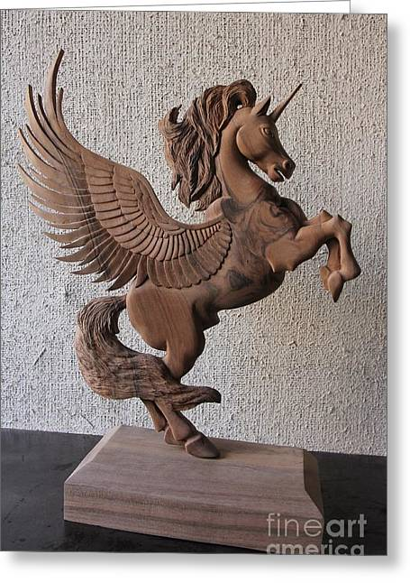 Extinct And Mythical Sculptures Greeting Cards - The Unicorn Sculpture Wood Work Greeting Card by Persian Art