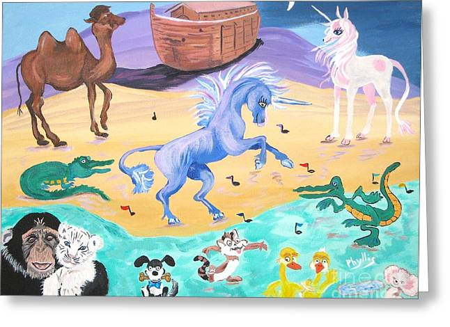 Puddle Paint Greeting Cards - The Unicorn Song in Paint Greeting Card by Phyllis Kaltenbach