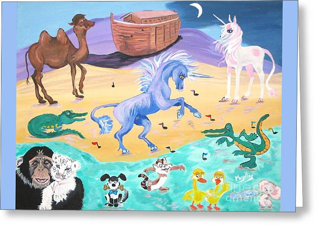 The Unicorn Song In Paint Greeting Card by Phyllis Kaltenbach