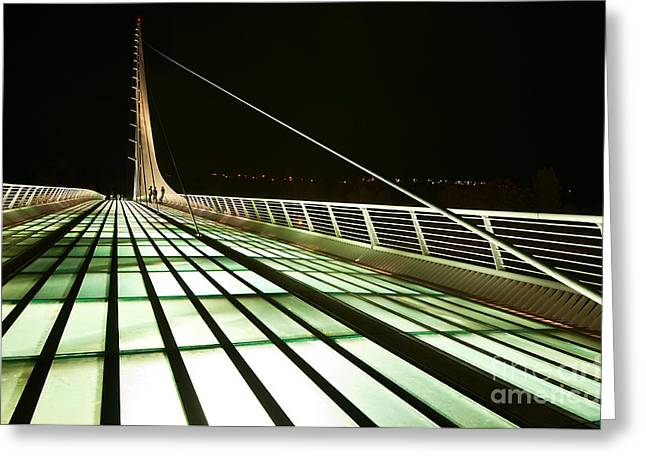 Translucent Light Greeting Cards - The unique and beautiful Sundial Bridge in Redding California. Greeting Card by Jamie Pham
