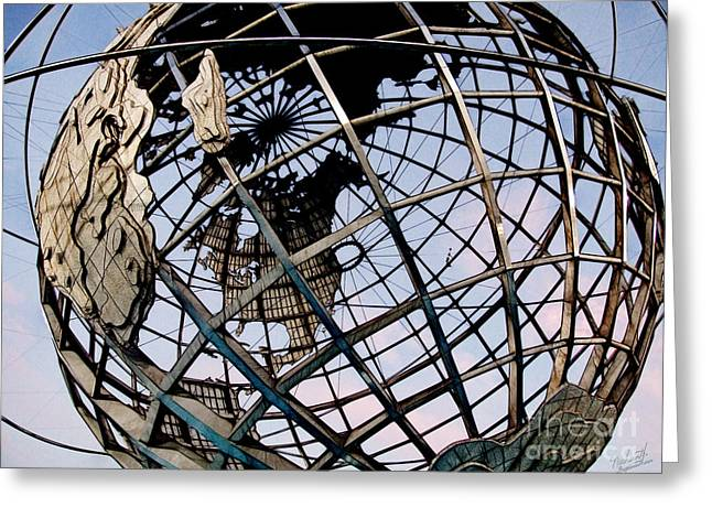 Flushing Greeting Cards - The Unisphere Greeting Card by Nishanth Gopinathan