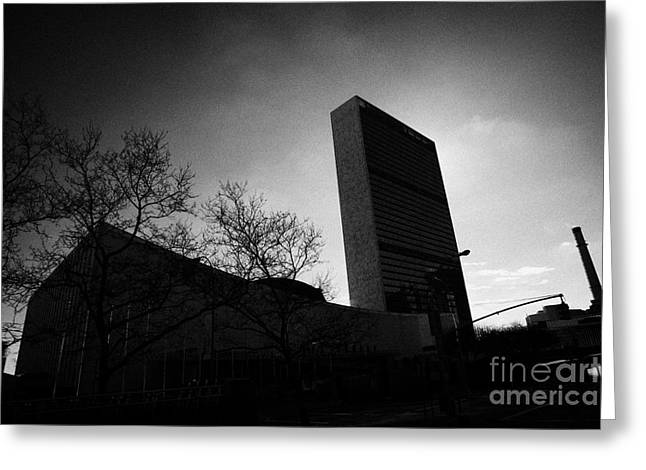 Manhatan Greeting Cards - The united nations building backlit new york city Greeting Card by Joe Fox