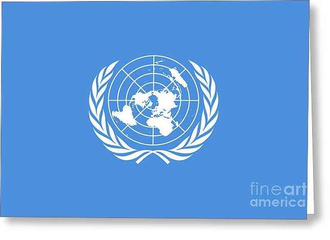 Planet Map Greeting Cards - The United Nations Flag  Authentic version Greeting Card by Bruce Stanfield