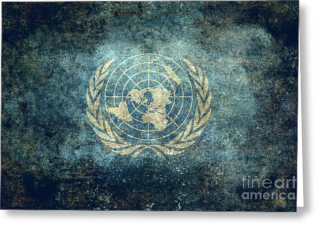 Planet Map Greeting Cards - The United Nations Flag  Vintage version Greeting Card by Bruce Stanfield