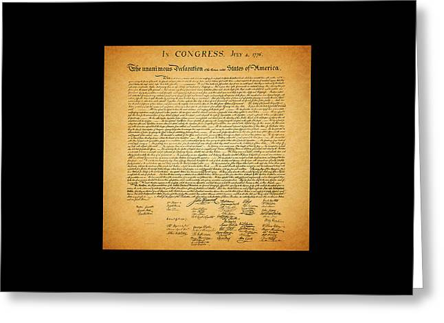 4 July Greeting Cards - The United States Declaration of Independence - square black border Greeting Card by Wingsdomain Art and Photography