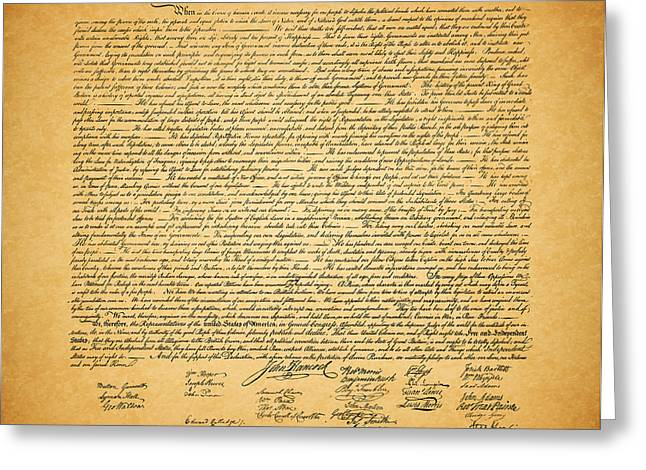 The United States Declaration of Independence - square Greeting Card by Wingsdomain Art and Photography