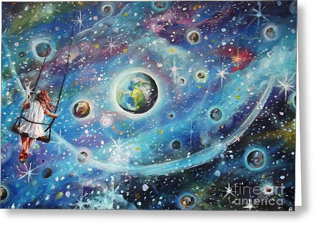 The Universe Paintings Greeting Cards - The Universe is my Playground Greeting Card by Dariusz Orszulik