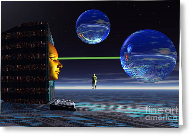 The Universe Of Cyberspace Greeting Card by Mark Stevenson
