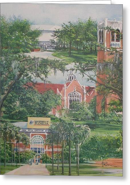 Florida Gators Paintings Greeting Cards - The University of Florida Greeting Card by Nancy Raborn