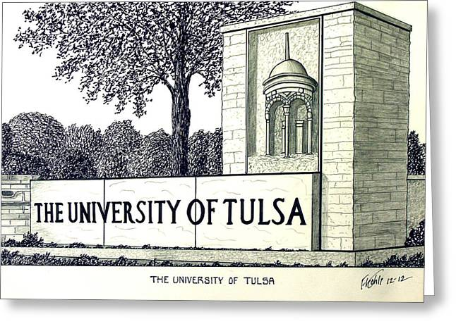 Pen And Ink Framed Prints Greeting Cards - The University of Tulsa Greeting Card by Frederic Kohli