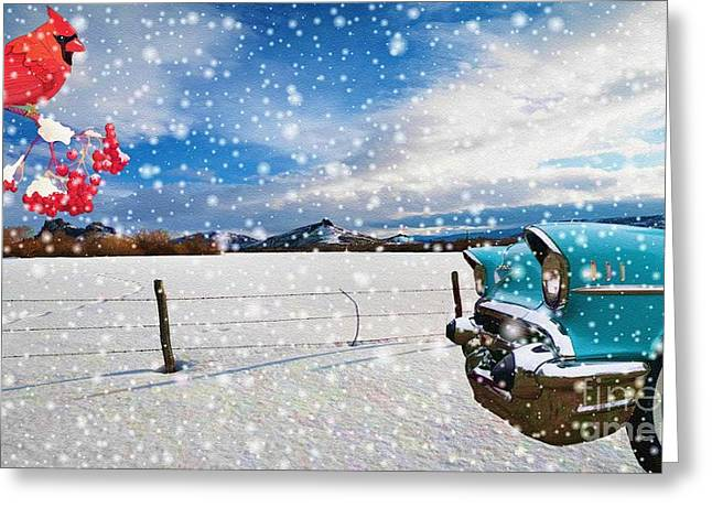 Snowstorm Posters Greeting Cards - The Unwilling Winter Greeting Card by Liane Wright