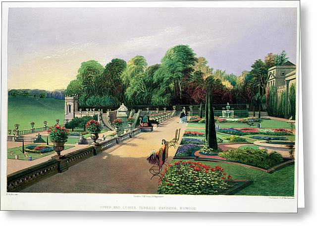Bed Drawings Greeting Cards - The Upper And Lower Terrace Gardens Greeting Card by E. Adveno Brooke