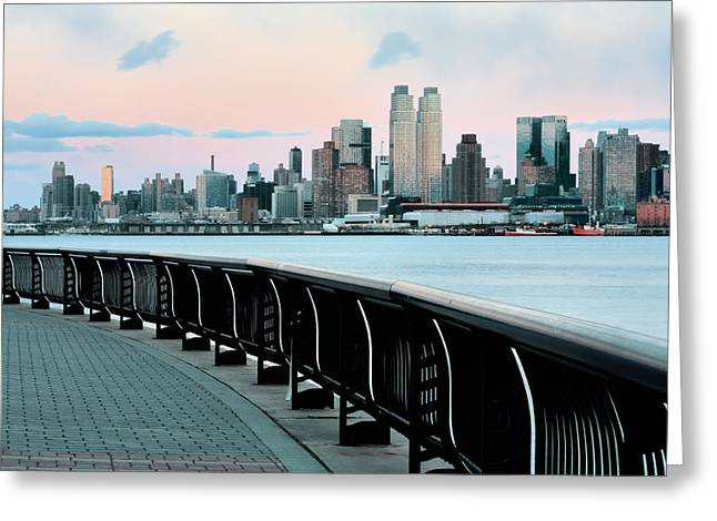 Jogging Greeting Cards - The Upper West Side Greeting Card by JC Findley
