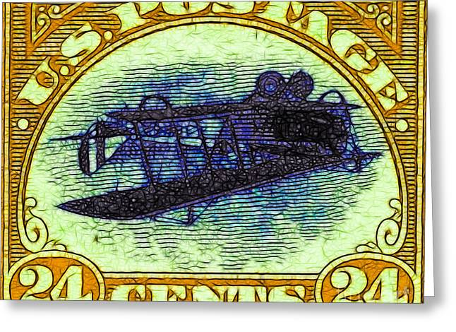 Old Stamps Greeting Cards - The Upside Down Biplane Stamp - 20130119 - v3 Greeting Card by Wingsdomain Art and Photography