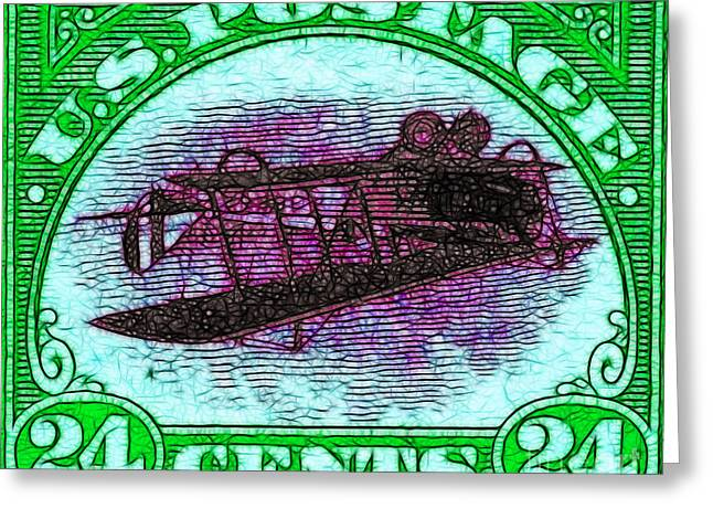 Old Stamps Greeting Cards - The Upside Down Biplane Stamp - 20130119 - v4 Greeting Card by Wingsdomain Art and Photography