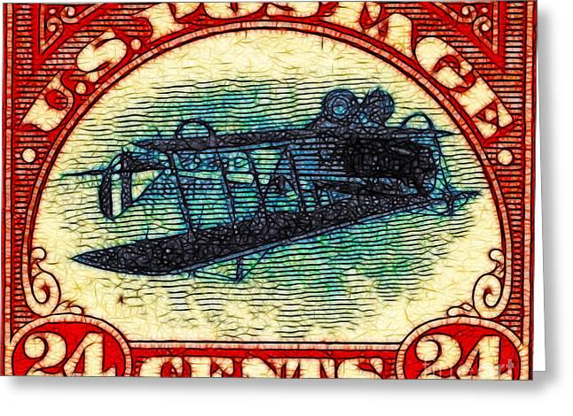 Old Stamps Greeting Cards - The Upside Down Biplane Stamp - 20130119 Greeting Card by Wingsdomain Art and Photography
