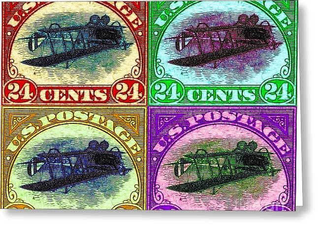 Postal Greeting Cards - The Upside Down Biplane Stamp Four - 20130119 Greeting Card by Wingsdomain Art and Photography