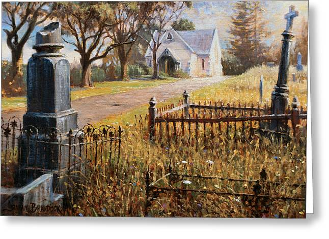 Religious Art Greeting Cards - The Upward Path  Waikumete Cemetery  Auckland Greeting Card by Graham Braddock