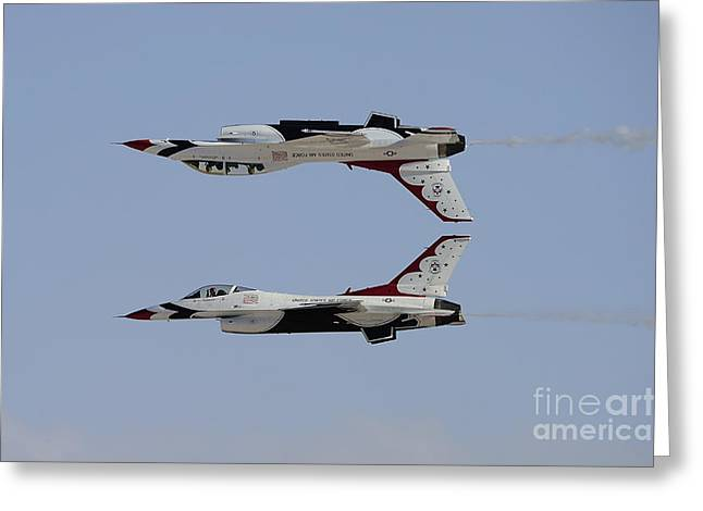 Cooperation Greeting Cards - The U.s. Air Force Thunderbirds Greeting Card by Remo Guidi