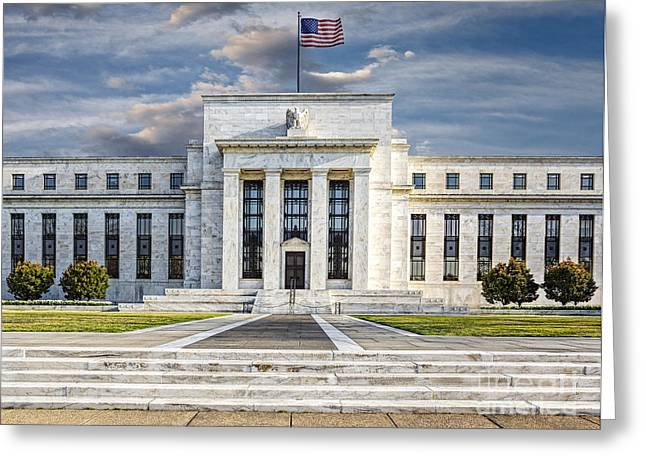The Us Federal Reserve Board Building Greeting Card by Susan Candelario