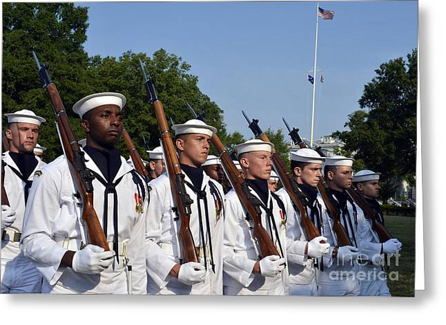 Liberation Greeting Cards - The U.s. Navy Ceremonial Honor Guard Greeting Card by Stocktrek Images