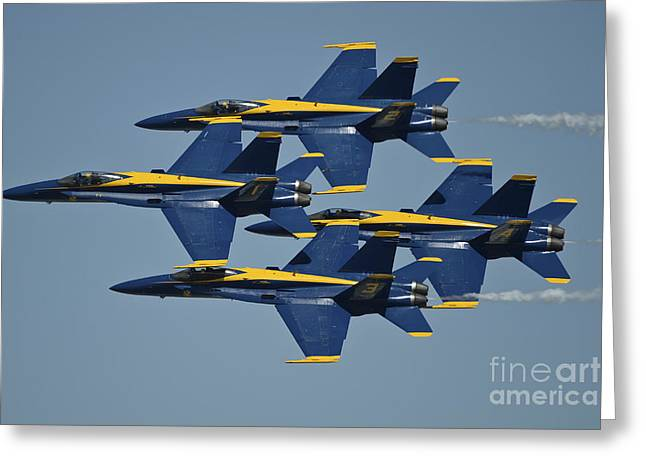 Angel Blues Greeting Cards - The U.s. Navy Flight Demonstration Greeting Card by Stocktrek Images