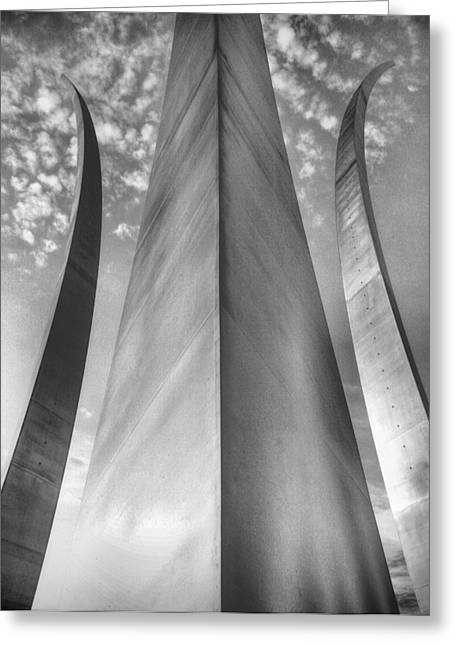 U.s. Air Force Greeting Cards - The USAF Memorial in Black and White Greeting Card by JC Findley