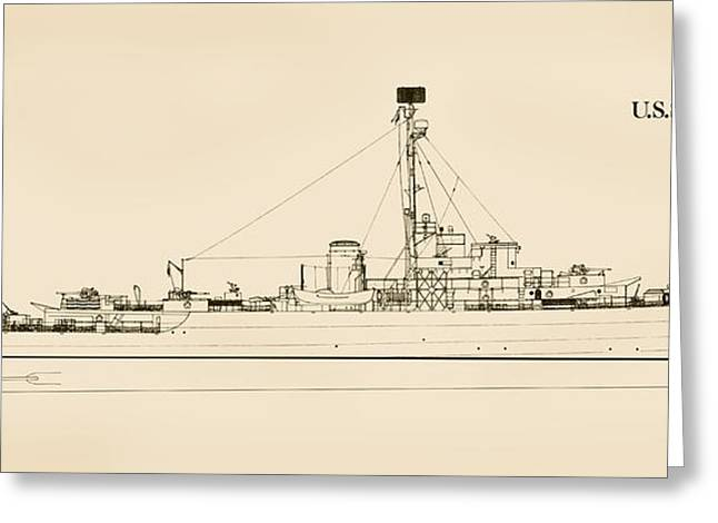 World War 2 Drawings Greeting Cards - The U.S.S. Albuquerque Greeting Card by Jerry McElroy - Public Domain Image
