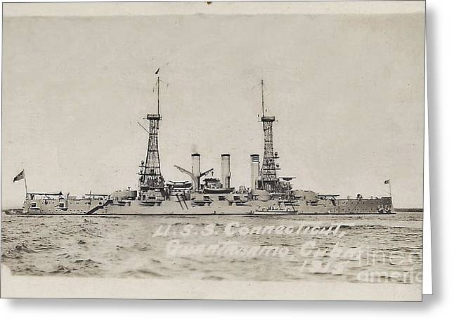 Ww1 Greeting Cards - The USS Connecticut Guantanamo Cuba 1915    Greeting Card by Helene Guertin