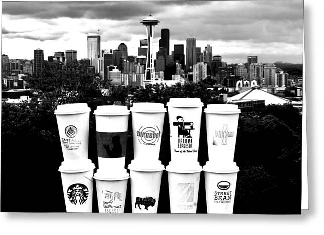 Americano Greeting Cards - The Usual Seattle Suspects Greeting Card by Benjamin Yeager
