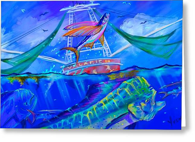 Shark Digital Art Greeting Cards - The Valarie  Greeting Card by Yusniel Santos