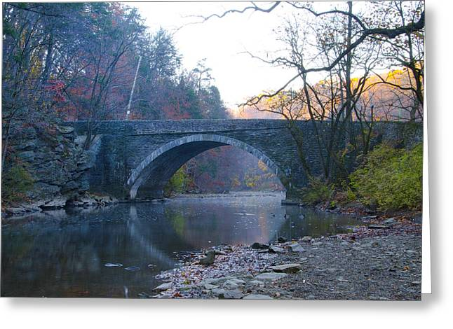 Valley Green Greeting Cards - The Valley Green Bridge in Fairmount Park Greeting Card by Bill Cannon
