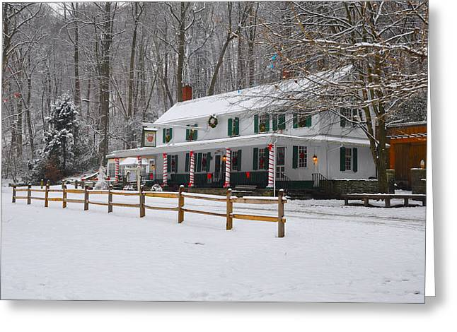 Fairmount Park Digital Art Greeting Cards - The Valley Green Inn in the Snow Greeting Card by Bill Cannon