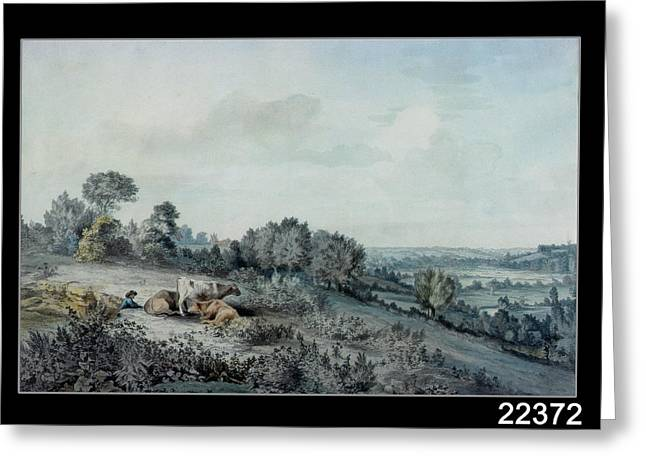 Shepherds Greeting Cards - The Valley Of The Stour, Looking Towards East Bergholt, 1880 Pencil, Pen And Ink And Watercolour Greeting Card by John Constable